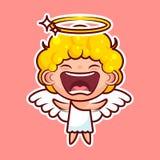 L'émoticône d'emoji d'autocollant, joie d'émotion, vecteur de cri a isolé l'entité divine douce de caractère heureux d'illustrati Photographie stock