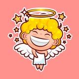 L'émoticône d'emoji d'autocollant, promenade d'émotion, traînent, étoile, entité divine douce de caractère heureux d'illustration illustration de vecteur