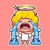 L'émoticône d'emoji d'autocollant, sanglot d'émotion, cri, pleurent, entité divine douce de caractère heureux d'illustration de v Image stock