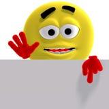 L'émoticône jaune fraîche et drôle indique le regard ici Photo libre de droits