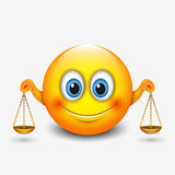 L'émoticône mignonne de Balance, emoji, se tenant mesure - signe astrologique - l'horoscope - dirigez l'illustration illustration stock