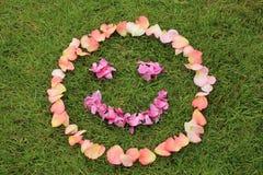 L'émoticône souriante de visage des pétales de s'est levée sur le fond de l'herbe Image stock