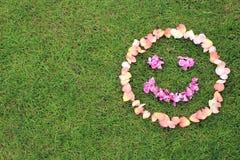 L'émoticône souriante de visage des pétales de s'est levée sur le fond de l'herbe Images stock