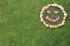 L'émoticône souriante de visage des pétales de s'est levée sur le fond de l'herbe Image libre de droits