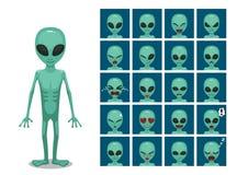 L'émotion étrangère extraterrestre de bande dessinée de grand oeil vert fait face à l'illustration de vecteur illustration de vecteur