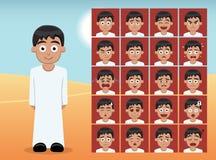L'émotion arabe de bande dessinée de garçon d'enfant fait face à l'illustration de vecteur illustration de vecteur