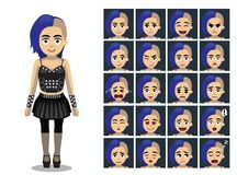 L'émotion bleue punk de bande dessinée de fille de cheveux fait face à l'illustration de vecteur illustration libre de droits