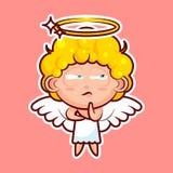 L'émotion d'émoticône d'emoji d'autocollant Hmm, doute, vecteur de pensée a isolé l'entité divine douce de caractère d'illustrati Image libre de droits