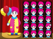 L'émotion de bande dessinée de Balloon Girl Costume de clown fait face à l'illustration de vecteur Images stock