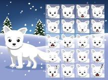 L'émotion de bande dessinée de Fox arctique de Noël fait face à l'illustration de vecteur Photo libre de droits