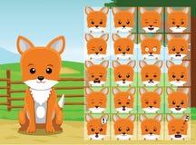 L'émotion de bande dessinée de Fox de ferme fait face à l'illustration de vecteur Photo stock