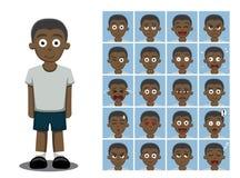 L'émotion de bande dessinée de garçon d'afro-américain fait face à l'illustration de vecteur illustration stock