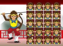 L'émotion de bande dessinée de Sun Wukong de Chinois fait face à l'illustration de vecteur illustration de vecteur