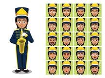 L'émotion de bande dessinée de fille de saxophone de fanfare fait face à l'illustration de vecteur Photos stock