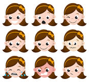 L'émotion de fille fait face à la bande dessinée ensemble d'expressions femelles d'avatar Photos libres de droits