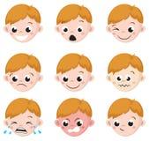 L'émotion de garçon fait face à la bande dessinée D'isolement réglé des expressions masculines d'avatar illustration de vecteur