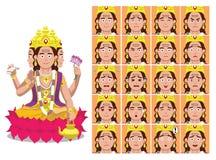 L'émotion indoue de bande dessinée de Brahma de Dieu fait face à l'illustration de vecteur Image stock