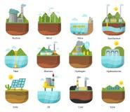 L'énergie de génération dactylographie à vecteur d'icônes de centrale l'illustration solaire alternative renouvelable de vague illustration libre de droits