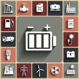 L'énergie, l'électricité, icône plate de vecteur de puissance a placé avec des ombres Photographie stock libre de droits