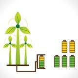 L'énergie renouvelable se produisent par concept de moulin de vent Image stock