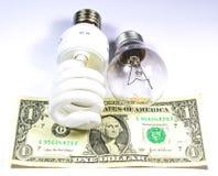 L'énergie sauvegardent contre l'ampoule régulière Images stock