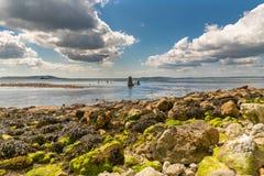 L'épave de l'effrontée, baie d'Osmington, côte jurassique, Dorset, R-U photographie stock