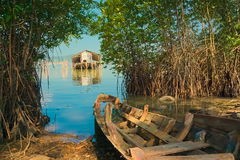 L'épave des bateaux et du logement d'une pêche locaux pour la montre les poissons images stock