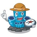 L'éponge bleue d'explorateur de corail a isolé la mascotte illustration libre de droits