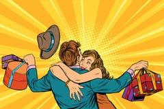 L'épouse étreint son mari avec des cadeaux illustration libre de droits
