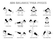 L'équilibre de bras de yoga pose le monochrome d'illustration de vecteur Photographie stock libre de droits