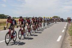 L'équipe d'emballage de BMC - Tour de France 2017 Image libre de droits