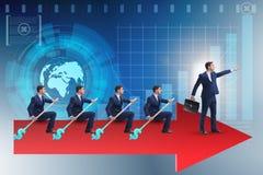 L'équipe d'hommes d'affaires dans le concept de travail d'équipe avec le bateau Photographie stock libre de droits