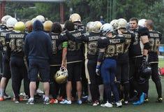 L'équipe de football Spartians se réjouissent Photo libre de droits