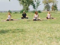 L'équipe de forme physique s'exercent en parc Concept de yoga photos stock