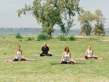 L'équipe de forme physique s'exercent en parc Concept de yoga image libre de droits