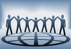 L'équipe de gens supportent le globe de mains illustration de vecteur