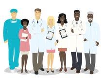L'équipe de médecins et de personnel médical d'isolement sur le backgrou blanc illustration de vecteur