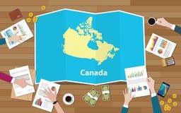 L'équipe de nation de croissance de pays d'économie de Canada discutent avec la vue de cartes de pli à partir du dessus illustration de vecteur