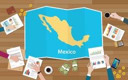 L'équipe de nation de croissance de pays d'économie du Mexique discutent avec la vue de cartes de pli à partir du dessus illustration de vecteur