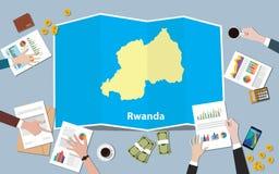 L'équipe de nation de croissance de pays d'économie du Rwanda Afrique discutent avec la vue de cartes de pli à partir du dessus Images stock