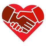 L'équipe de poignée de main remet le logo de coeur illustration stock