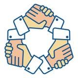 L'équipe de poignée de main remet le logo sur le blanc illustration stock