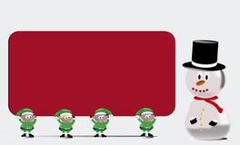L'équipe de Santa avec la carte de signe Image libre de droits