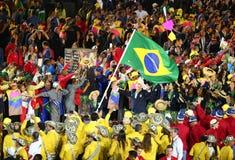 L'équipe olympique Brésil a marché dans la cérémonie d'ouverture de Jeux Olympiques de Rio 2016 Photo stock