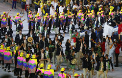 L'équipe olympique Brésil a marché dans la cérémonie d'ouverture de Jeux Olympiques de Rio 2016 au stade de Maracana en Rio de Ja Images stock