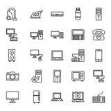 L'équipement de l'électronique a isolé les icônes de vecteur a placé qui peuvent être facilement éditées ou modifiées illustration de vecteur