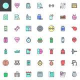 L'équipement de forme physique a rempli icônes d'ensemble réglées illustration libre de droits
