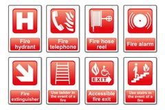 Signes d'équipement du feu Illustration Libre de Droits