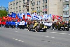 L'équipement militaire participe à la démonstration en l'honneur du Photo stock