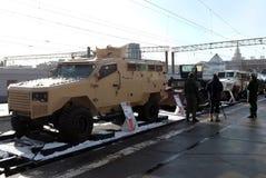 L'équipement militaire a saisi des terroristes en Syrie, sur la plate-forme ferroviaire photographie stock libre de droits